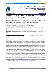 Assessment of genetic diversity among safflower germplasm through agro-morphological traits