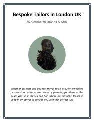 Bespoke Tailors in London UK