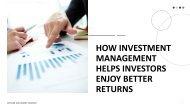 How investment management helps investors enjoy better returns