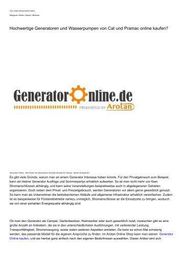 Hochwertige Generatoren und Wasserpumpen von Cat und Pramac online kaufen?