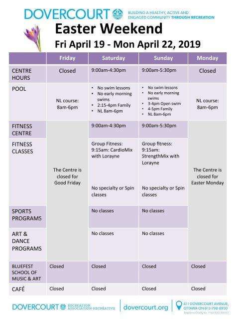 Easter 2019 schedule