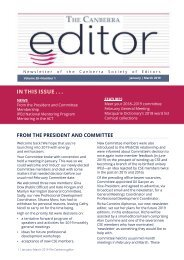 The Canberra editor: January to March 2019
