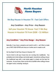 We Buy Houses in Houston TX - Fast Cash Offers