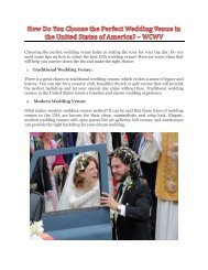 How Do You Choose the Perfect Wedding Venue in the United States of America? - WCWV
