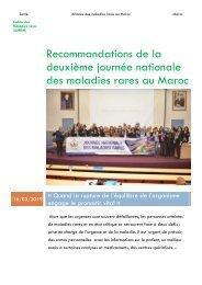 Les recommandations de la seconde  journée nationale des maladies rares au Maroc - AMRM