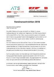 Vereinsnachrichten 2019