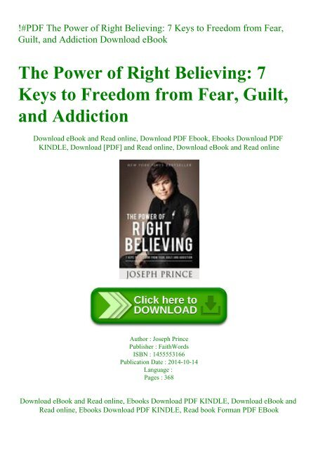 PDF The Power of Right Believing 7 Keys to Freedom from Fear