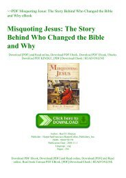 ~PDF Misquoting Jesus The Story Behind Who Changed the Bible and Why eBook