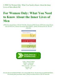#PDF For Women Only What You Need to Know About the Inner Lives of Men eBook Pdf