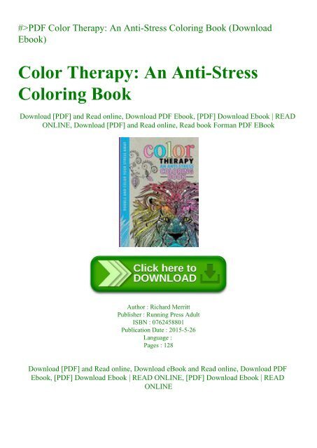 PDF Color Therapy An Anti-Stress Coloring Book (Download Ebook)