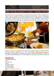 Indian Catering Companies In London-Sukhdevs Catering