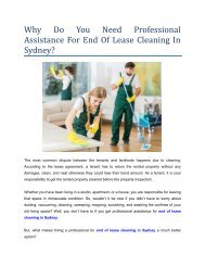 Why Do You Need Professional Assistance For End Of Lease Cleaning In Sydney?