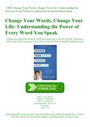 ~!PDF Change Your Words  Change Your Life Understanding the Power of Every Word You Speak Download and Read online