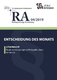 RA 04/2019 - Entscheidung des Monats