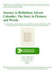 !#PDF Journey to Bethlehem Advent Calendar The Story in Pictures and Words Download eBook