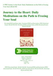 #PDF Journey to the Heart Daily Meditations on the Path to Freeing Your Soul eBook Pdf