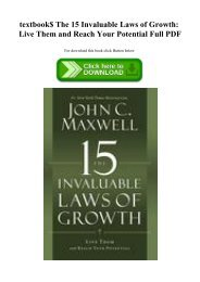 textbook$ The 15 Invaluable Laws of Growth Live Them and Reach Your Potential Full PDF