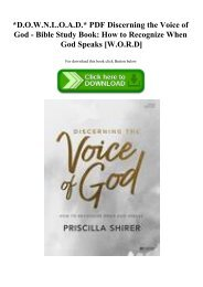 D.O.W.N.L.O.A.D. PDF Discerning the Voice of God - Bible Study Book How to Recognize When God Speaks [W.O.R.D]