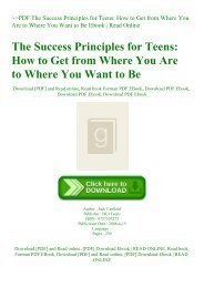 ~PDF The Success Principles for Teens How to Get from Where You Are to Where You Want to Be Ebook  Read Online