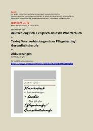 deutsch-englisch Text-Uebersetzer Pflegebegriffe/ Dolmetscher Medizin