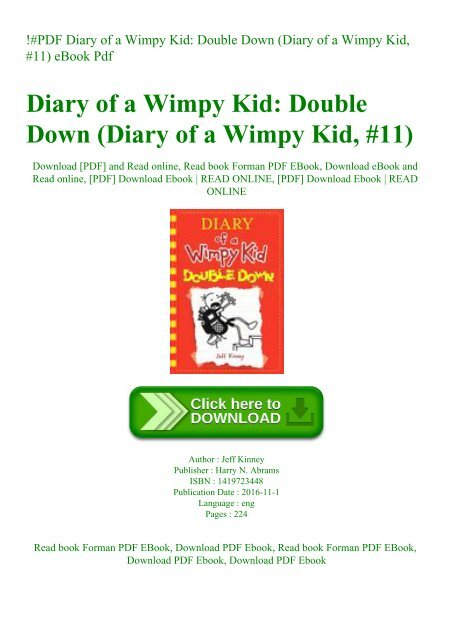 Pdf Diary Of A Wimpy Kid Double Down Diary Of A Wimpy Kid 11 Ebook Pdf
