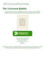 ~PDF The Velveteen Rabbit Download eBook