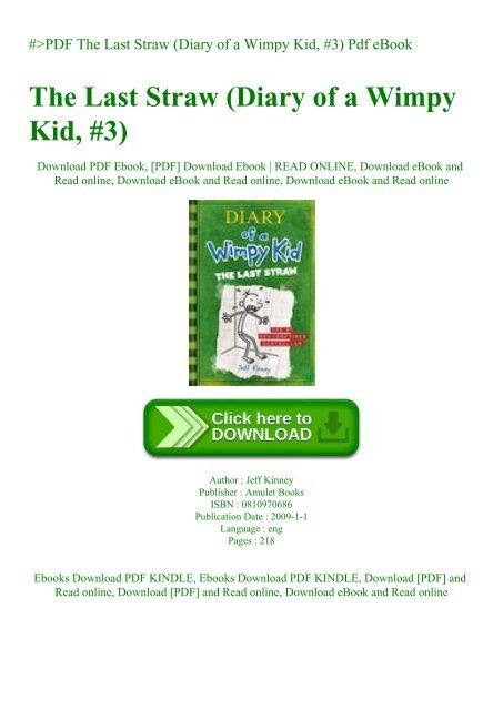 Pdf The Last Straw Diary Of A Wimpy Kid 3 Pdf Ebook