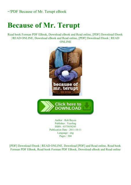 PDF Because of Mr  Terupt eBook