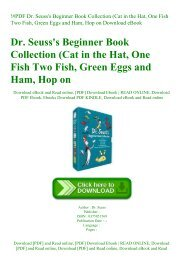 !#PDF Dr. Seuss's Beginner Book Collection (Cat in the Hat  One Fish Two Fish  Green Eggs and Ham  Hop on Download eBook