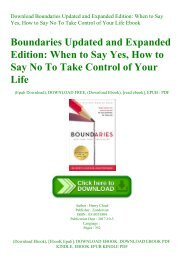 Download Boundaries Updated and Expanded Edition When to Say Yes  How to Say No To Take Control of Your Life Ebook