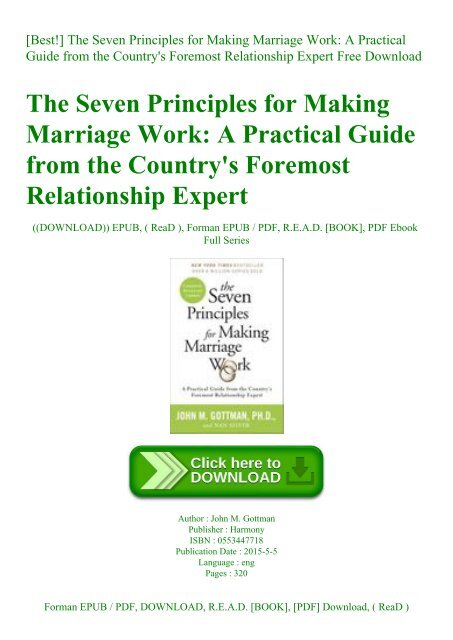 Best!] The Seven Principles for Making Marriage Work A Practical