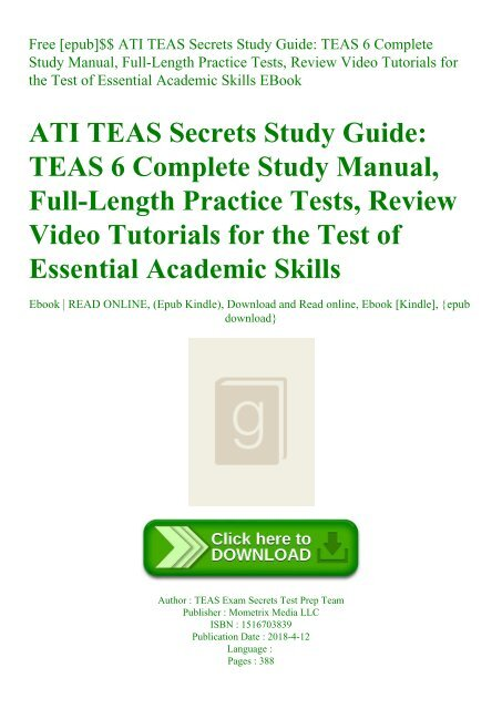 Free [epub]$$ ATI TEAS Secrets Study Guide TEAS 6 Complete