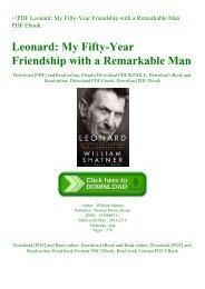 ~!PDF Leonard My Fifty-Year Friendship with a Remarkable Man PDF Ebook