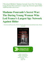 Download EBOoK@ Madame Fourcade's Secret War The Daring Young Woman Who Led France's Largest Spy Network Against Hitler ^DOWNLOAD E.B.O.O.K.#