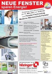 Fenster-Fachvortrag Moderne Wärmeschutz-Fenster - Hilzinger