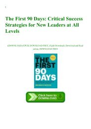 (DOWNLOADPDF} The First 90 Days Critical Success Strategies for New Leaders at All Levels Ebook  Read online Get ebook Epub Mobi