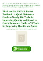 ^R.E.A.D.^ The Lean Six SIGMA Pocket Toolbook A Quick Reference Guide to Nearly 100 Tools for Improving Quality and Speed A Quick Reference Guide to 70 Tools for Improving Quality and Speed Ebook