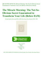 [READ PDF] EPUB The Miracle Morning The Not-So-Obvious Secret Guaranteed to Transform Your Life (Before 8AM) [Free Ebook]