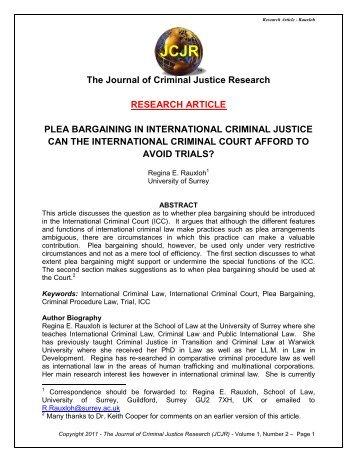 plea bargaining research paper