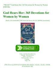 ^READ^ God Hears Her 365 Devotions for Women by Women [EBOOK]