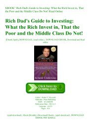 $BOOK^ Rich Dad's Guide to Investing What the Rich Invest in  That the Poor and the Middle Class Do Not! Read Online