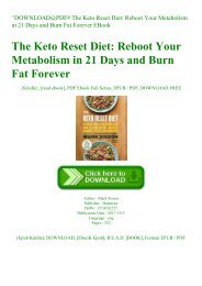 ^DOWNLOAD@PDF# The Keto Reset Diet Reboot Your Metabolism in 21 Days and Burn Fat Forever EBook