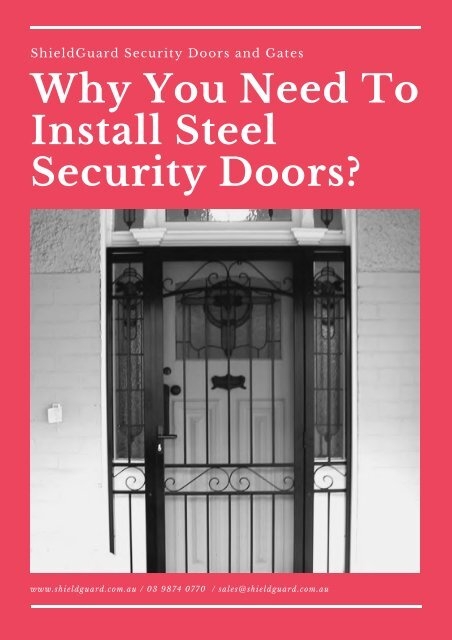 Why You Need To Install Steel Security Doors? - ShieldGuard