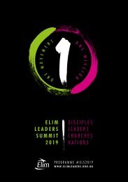 Elim Leaders Summit Programme 2019