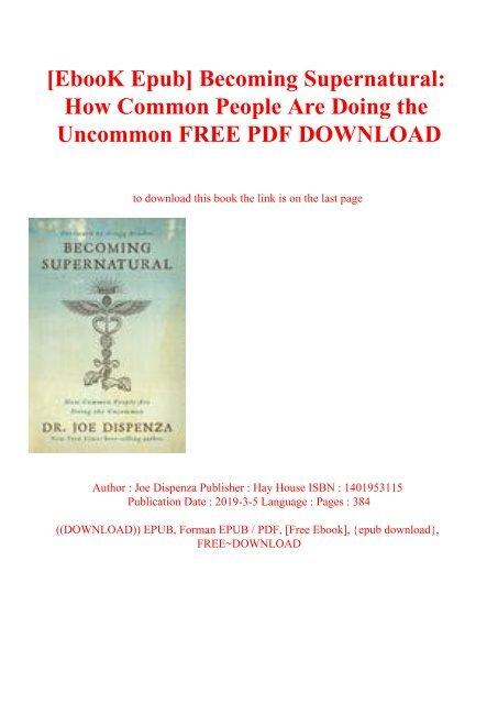 Becoming Supernatural eBook by Dr. Joe Dispenza ...