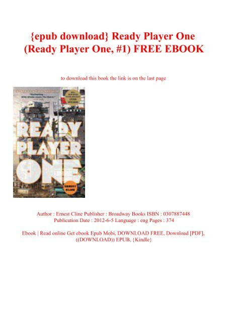 Epub Download Ready Player One Ready Player One 1 Free Ebook