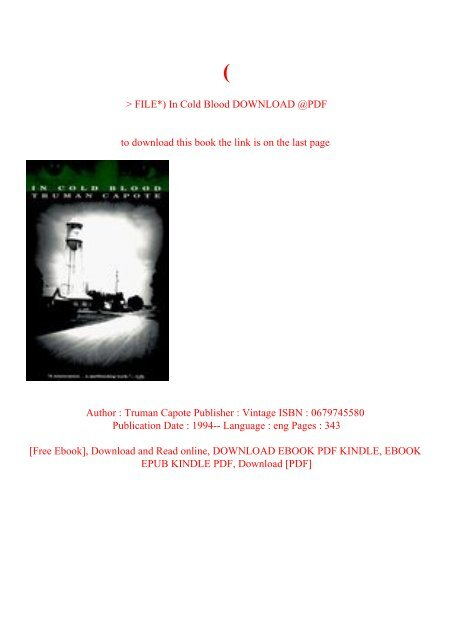 in cold blood truman capote pdf download free