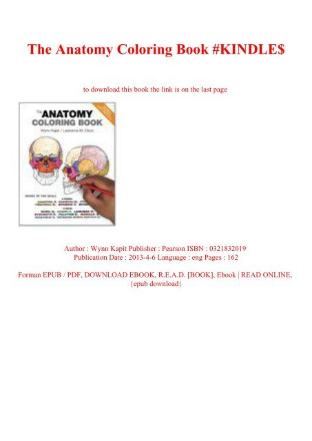 R.E.A.D.^ The Anatomy Coloring Book #KINDLE$