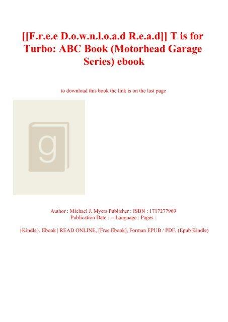 F R E E D O W N L O A D R E A D T Is For Turbo Abc Book
