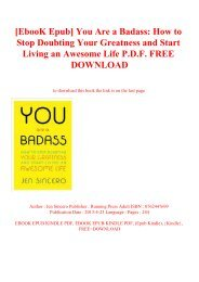 [EbooK Epub] You Are a Badass How to Stop Doubting Your Greatness and Start Living an Awesome Life P.D.F. FREE DOWNLOAD